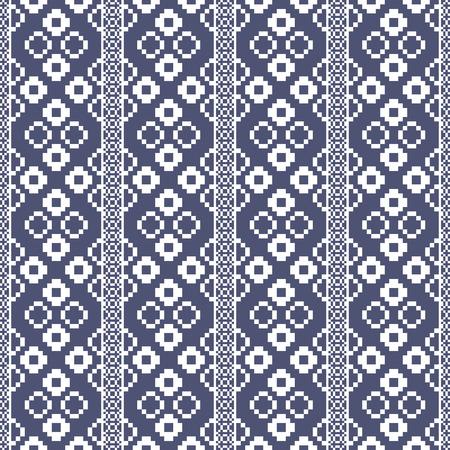 art flower: Thai pixel textile texture pattern. Illustration