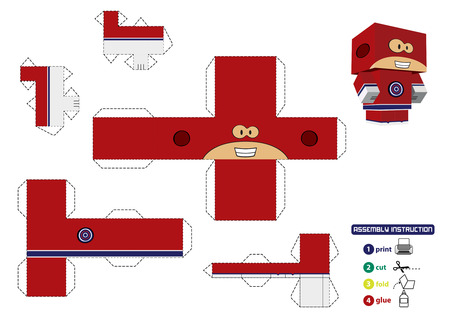 customizable: Super hero paper toy with assembly instruction. This vector is completely customizable.