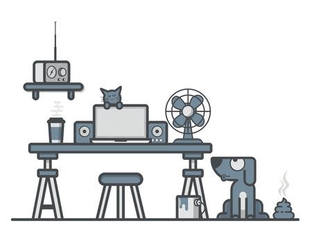 workspace: Vector Flat Line Workspace
