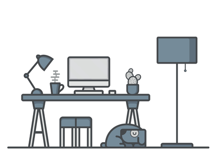Vector Flat Line Workspace