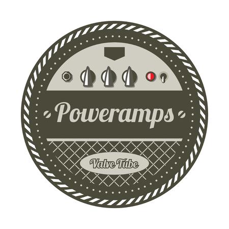 Vintage Amplifier Badge - Vector Illustration