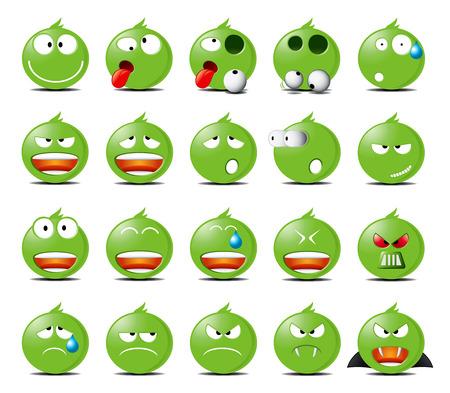 Conjunto de iconos redondeados verdes de diferentes emociones y estados de ánimo.