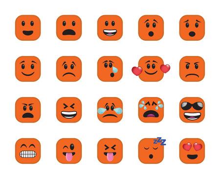 Conjunto de iconos cuadrados achaflanado en diferentes emociones y estados de ánimo.