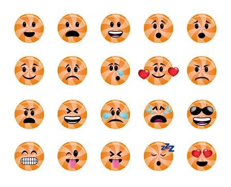 Conjunto de iconos de piruleta en diferentes emociones y estados de ánimo.