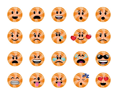 Set of lollipop icons in different emotions and moods.