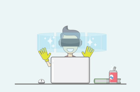 Young boy sitting behind desk in front of laptop uses virtual reality application. Illustration