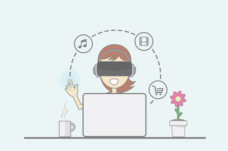 Young girl sitting behind desk in front of laptop uses virtual reality application. Illustration