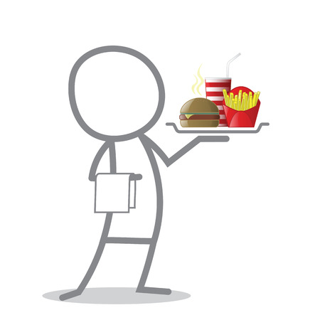fast meal: Doodle waiter holding a tray with fast food meal.