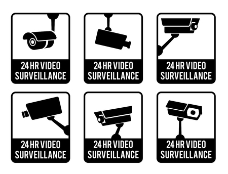 monitored area: Warning set stickers for security video surveillance. Illustration