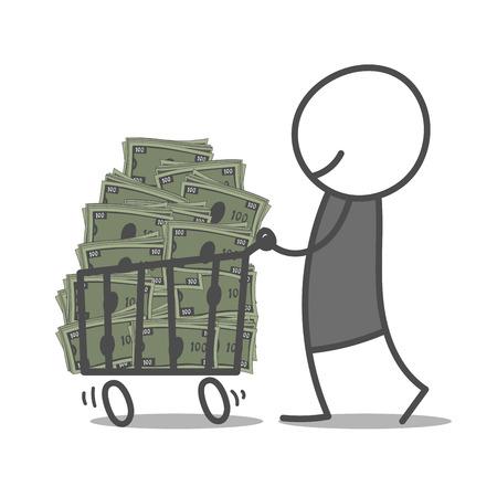 scrawl: Doodle man pushing shopping cart with bills.