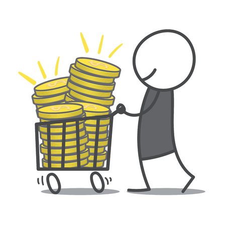 withdrawal: Doodle man pushing shopping cart with coins. Illustration