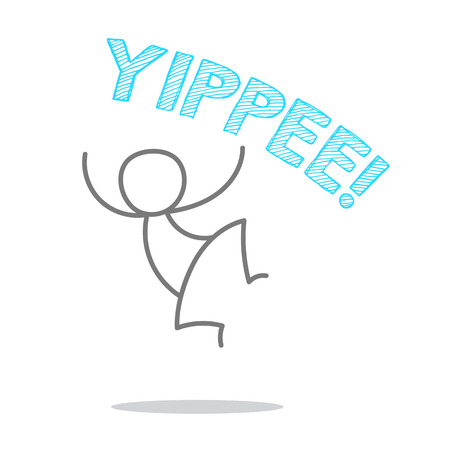 thrilled: A man jumping and shouting YIPPEE. Illustration