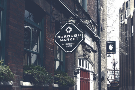 London,Uk - April 15, 2016: Borough Market sign. It is one of the largest and oldest food markets in London.