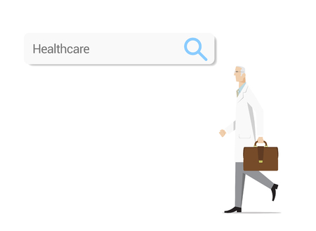 search searching: Experienced doctor with web search bar on white background. Searching and compare different healthcare options. Illustration