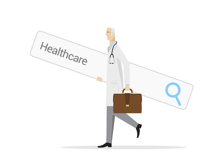 Experienced doctor carries a big web search bar on white background. Searching and compare different healthcare options concept.