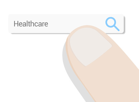 Finger over web search bar on white background. Searching and compare different healthcare options. Ilustração