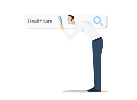 search searching: Man with magnifying glass over web search bar on white background. Searching and compare different healthcare options.