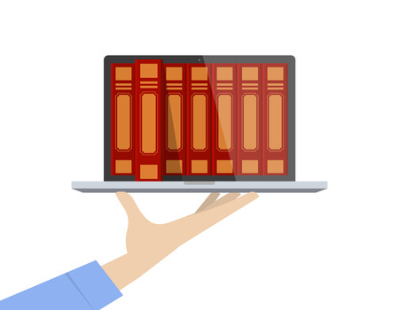Hand holding laptop with books. A book comes out from screen. Illustration