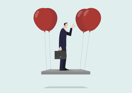 Self sabotage concept: businessman pushing needle to pop the balloon. Ilustração