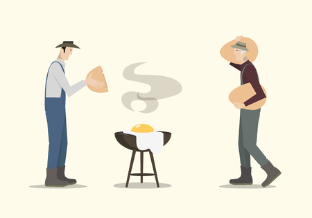 two birds: Farmers cooking big egg on barbecue.