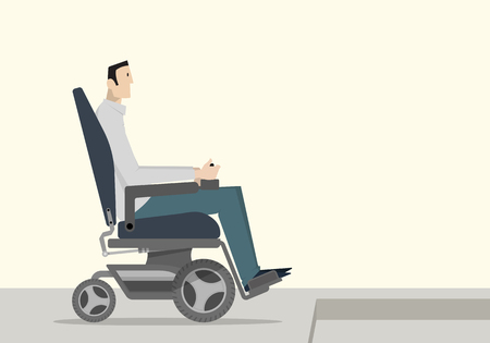 A disabled man in a motorized wheelchair who can't get down the stair. Vetores