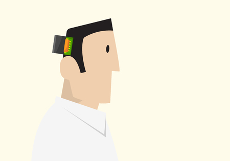 microcontroller: Artificial Intelligence Concept. Man with microcontroller inside his head. Illustration
