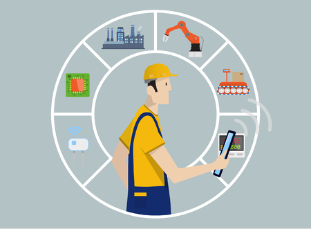 Industry 4.0 Factory Automation Concept: production chain controlled by skilled laborer with tablet PC. 일러스트