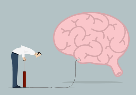 knowledge business: Improving Knowledge Concept: man pumps up a brain.