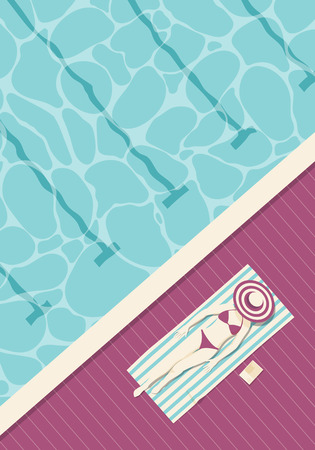 Overhead view of a woman wearing bikini resting on the edge of a pool at a luxury resort.