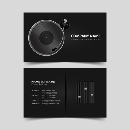logo music: Deejay business card design template. Illustration