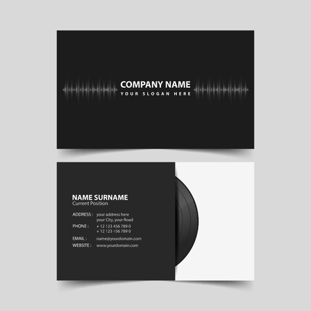 Deejay business card design template. Ilustrace