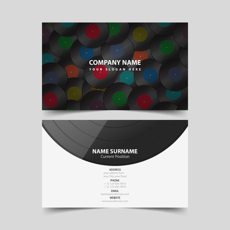 Vinyl Record business card design template.