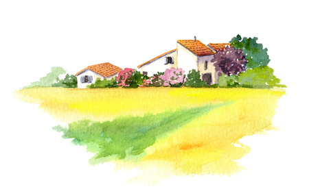 landscape architecture: Rural provencal house and yellow field -wheat, sunflower- in Provence, France. Watercolor