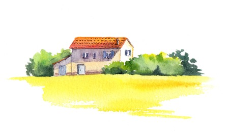 chateau: Rural landscape with old house and yellow field -wheat, sunflower flowers. Watercolor