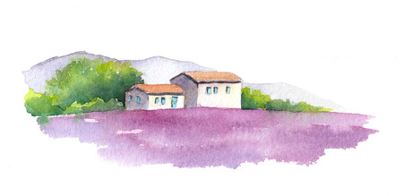french countryside: Lavender field with rural provencal house in Provence, France. Watercolor