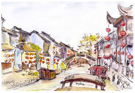 zhouzhuang: Watercolor painted chinese water canal in old town in China