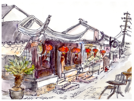 Watercolor painted chinese old town street with cafe and red lanterns Stockfoto