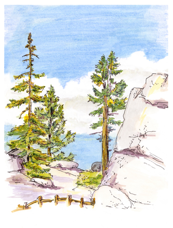 mountain view: Marker painting sketch of mountain landscape view with trees