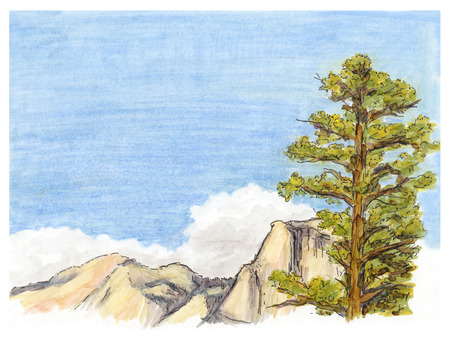 mountain view: Marker painted sketch of mountain landscape view Stock Photo