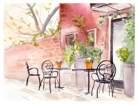urban colors: Café de la calle wiht vítores y mesas. Acuarela