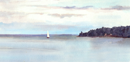 sea water: Water view landscape - lake or sea, island, sky with clouds and white sail. Watercolor painted drawing