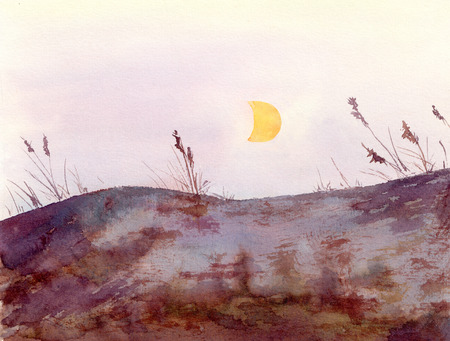 slope: Watercolor - nordic landscape view with rocks hill, grass and moon