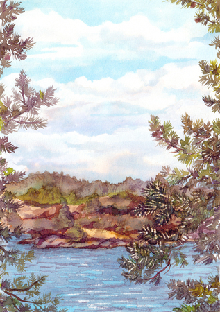 lake shore: Landscape view of north nature - rocks shore, lake water, sky with clouds and pine tree branches