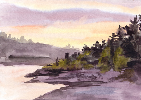 uprise: Watercolor sunset or sun rise in mountains. Nordic landscape