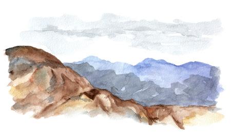 山と空の景観。水彩絵