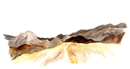rocky road: Watercolor view of mountains and hills, landscape