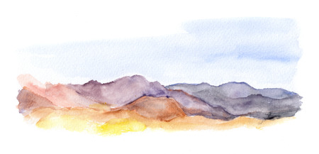 aquarel: Mountains and sky landscape view. Watercolour picture