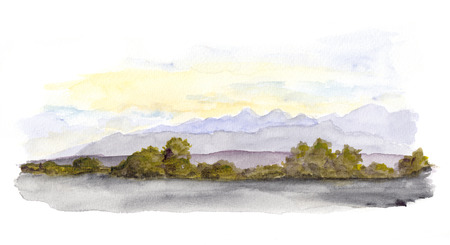 scenic: Mountains panorama scenic view. Watercolor drawing landscape