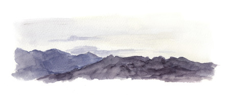 smoky mountains: Mountains scenic view on watercolor handmade drawing