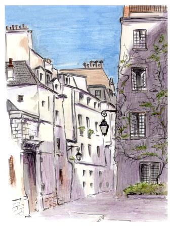 classicism: Painting of street of european city, Paris